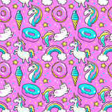 Seamless pattern in cartoon 80s-90s comic style. Seamless pattern with unicorns, donuts rainbow, confetti and other elements.Vector background with stickers Royalty Free Stock Photo
