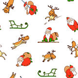 Seamless pattern from cartoon Santa Claus, reindeer,sled Stock Images