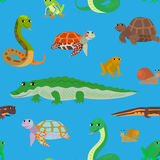 Seamless pattern with cartoon sea animals. Seamless pattern with cartoon animals. Sea endless blue background with crocodile snake turtle frog newt. Vector Royalty Free Stock Photography