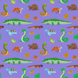 Seamless pattern with cartoon sea animals. Seamless pattern with cartoon animals. Sea endless purple background with crocodile snake turtle frog newt. Vector Stock Photography