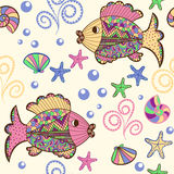 Seamless pattern with cartoon sea creatures. Illustration with beautiful colorful fish, starfish, shells and algae.Seamless pattern with hand drawn sea Royalty Free Stock Images