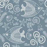 Seamless pattern with cartoon sea creatures. Illustration with beautiful fish, starfish, shells and algae.Seamless pattern with hand drawn sea creatures. Vector Royalty Free Stock Photography