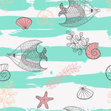 Seamless pattern with cartoon sea creatures. Illustration with beautiful fish, starfish, shells and algae.Seamless pattern with hand drawn sea creatures. Vector Stock Photography