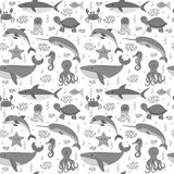 Seamless pattern with cartoon sea life animals. Sea theme. Under Stock Photos