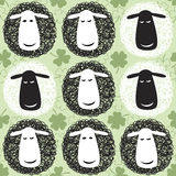 Seamless pattern with cartoon sheep. Royalty Free Stock Photo