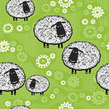 Seamless pattern with cartoon sheeps.Kids  background. Endless background with cartoon sheep on grass. Kids background Stock Photography