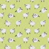 Seamless pattern with cartoon sheeps. Kids vector background Stock Images