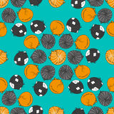 Seamless pattern with cartoon sleeping cats. Cute seamless pattern with cartoon sleeping cats made in vector. Design for children textile, wallpapers, packaging Stock Photography