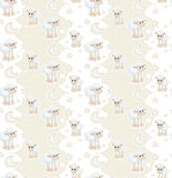 Seamless pattern with cartoon sleepy baby sheep Royalty Free Stock Photos