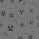 Seamless pattern of cartoon spooky scary ghosts character, hand-drawn ghosts for halloween celebration. Seamless pattern of cartoon spooky scary ghosts character Royalty Free Stock Photos
