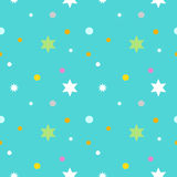Seamless pattern with cartoon star in blue background Royalty Free Stock Image