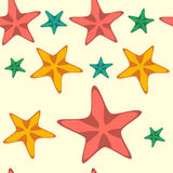 Seamless pattern with cartoon starfishes, vector Stock Images