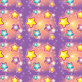 Seamless pattern with cartoon stars Royalty Free Stock Photo