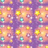 Seamless pattern with cartoon stars.  Royalty Free Stock Photo