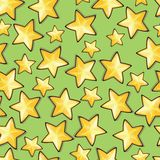 Seamless pattern with cartoon stars Stock Images