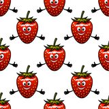Seamless pattern with cartoon strawberry Stock Images