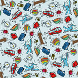Seamless pattern with cartoon stuff for travelling on light blue background Stock Image