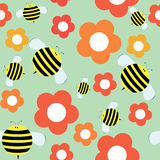 Seamless Pattern in Cartoon Style with Cute Bee and Flowers. Stock Photography