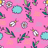 Seamless pattern in cartoon style. includes branches, flowers vector illustration