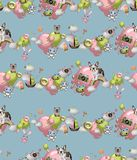 Seamless pattern in the cartoon style with toys, pets, sweets, ice cream, balloons. Child concept wallpaper texture. Seamless pattern in the cartoon style with stock illustration