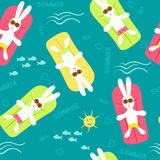 Seamless pattern with cartoon sunbathers hares Stock Image