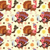 Seamless pattern cartoon thanksgiving turkey character in hat with harvest, leaves, acorns, corn, autumn holiday bird Royalty Free Stock Photography