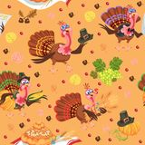 Seamless pattern cartoon thanksgiving turkey character in hat with harvest, leaves, acorns, corn, autumn holiday bird Royalty Free Stock Images