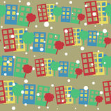 Seamless pattern with cartoon town Royalty Free Stock Photo