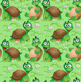 Seamless pattern with cartoon turtles Royalty Free Stock Photo