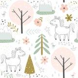 Seamless pattern with cartoon unicorns Stock Photos