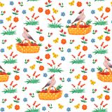 Seamless pattern with cartoon waxwing and flowers.