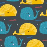 Seamless pattern with cartoon whales. Ocean fish. Kid drawing for baby textile, poster or wallpaper design. Vector illustration in scandinavian style royalty free illustration