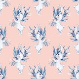 Seamless pattern with cartoon white rabbits and flowers. Watercolor illustration Stock Photography