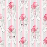 Seamless pattern with cartoon white rabbits 9. Seamless pattern with cartoon white rabbits and balloons. Watercolor background Royalty Free Illustration