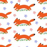 Seamless pattern with cartoonish foxes colrful stock illustration
