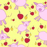 Seamless pattern with cartoony pigs. Cute seamless pattern for kids with cartoony pigs and apples on yellow background Royalty Free Stock Photos