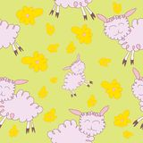 Seamless pattern with cartoony sheeps. Cute seamless pattern for kids with cartoony sheeps and flowers and green background Stock Photos