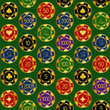 Seamless pattern of casino chips Royalty Free Stock Photo