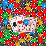 Seamless pattern. casino game. card chips. Royalty Free Stock Image