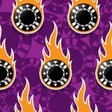 Seamless vector pattern with casino poker chips icons and flames stock illustration