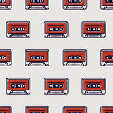 Seamless pattern, cassette tape Stock Image