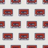 Seamless pattern, cassette tape Stock Image