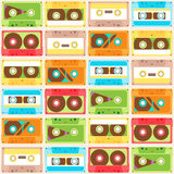 Seamless Pattern with cassettes. Seamless Pattern with retro different audio cassettes Stock Images