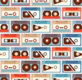 Seamless Pattern with cassettes Stock Photos