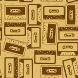 Seamless pattern of cassettes Stock Images