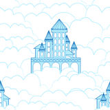 Seamless pattern of a castle in the clouds Royalty Free Stock Images