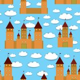 Seamless pattern castle, fairytale landscape. Blue background with clouds. vector Royalty Free Stock Photo