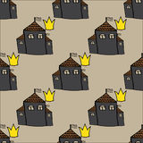 Seamless pattern with castles and crowns Royalty Free Stock Photography