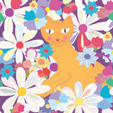 Seamless pattern with cat Royalty Free Stock Image