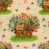 Seamless pattern with cat in basket of flowers Stock Photo